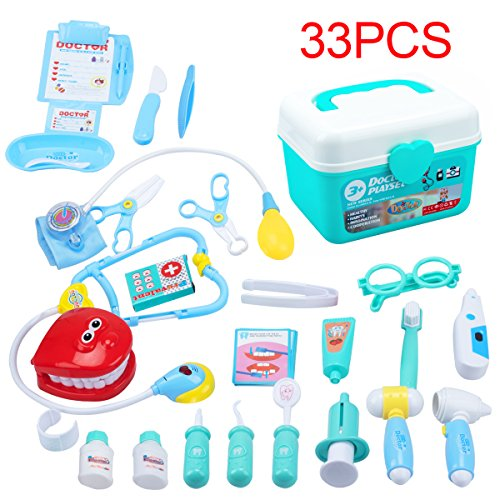 KEDA Durable Kids Doctor Kit Pretend Play Toy Set 33 Pieces Dentist Medical Kit with Electronic Stethoscope for Boys and Girls (Print Battery Cart)