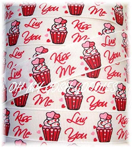 Ribbon Art Craft Perfect Solution for Any Project Decoration 1 Yard 7/8 KISS ME Cupcakes Valentine Heart Love You Grosgrain Ribbon for Bow 5 Yards