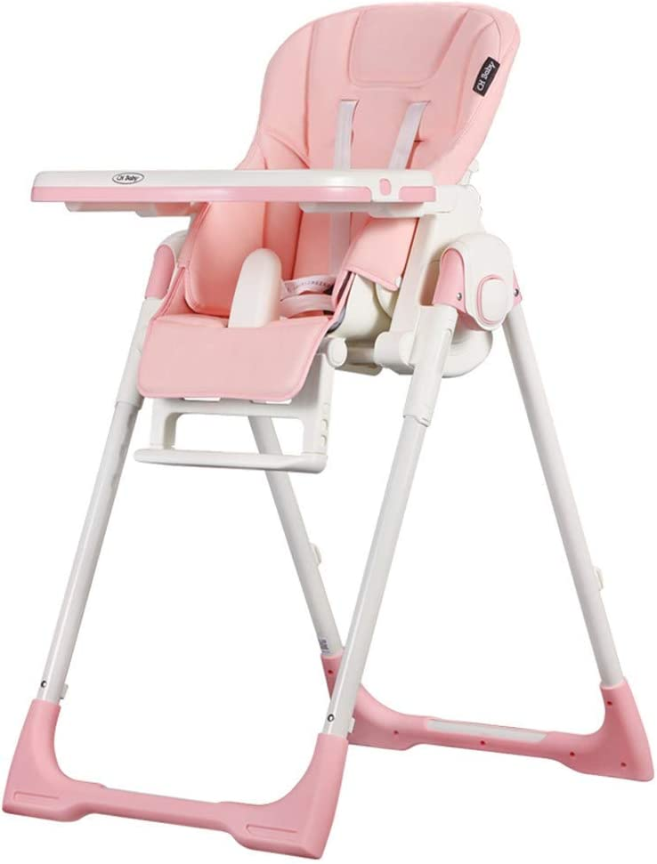 La silla de comedor portátil multifuncional de cuero para silla de bebé puede sentarse reclinada para comer, rosa: Amazon.es: Bebé