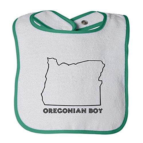 Oregonian Boy Oregon Cute Rascals Tot Contrast Trim Terry Bib White Green