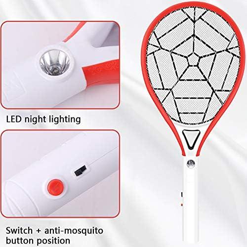 電気蚊取りキラー、LED照明充電式蚊取り器付き電気ハエたたき、強力な4000Vグリッド、屋内および屋外の蚊取り器に使用