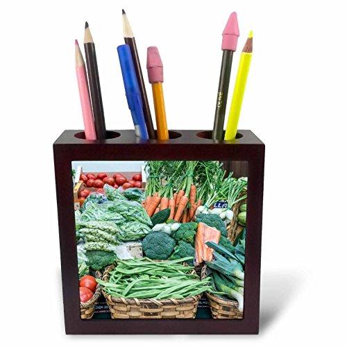 3dRose Danita Delimont - Markets - Spain, San Sebastian, Fresh vegetables for Sale at Farmers Market - 5 inch tile pen holder (ph_257873_1) by 3dRose