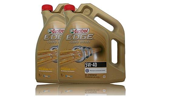 2 envases de 5 litros (total 10 litros) de aceite para motor Castrol EDGE Titanium FST™ 5 W-40: Amazon.es: Coche y moto