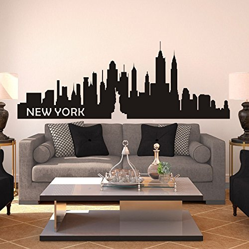 MairGwall The Big Apple Wall Decal New York City NYC Skyline Cityscape Travel Vacation Destination (X-Large,Black)