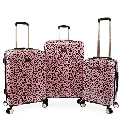 Juicy Couture Women's Jane 3-Piece Hardside Spinner Luggage Set, Pink Leopard - Juicy Couture Leopard