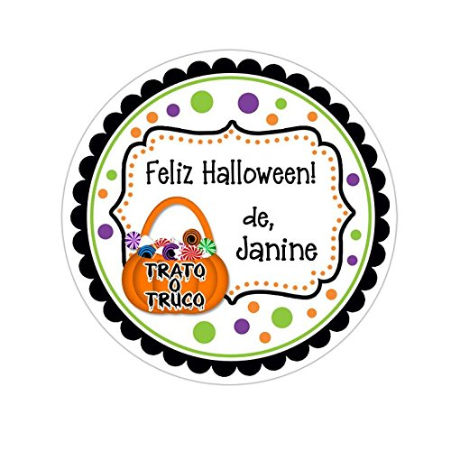 Personalized Customized Halloween Party Favor Thank You Stickers - Trato o Truco Frame - Round Labels - Choose Your Size ()
