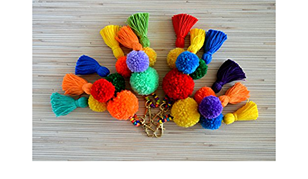 gift for guests mexican pom pom keychain pom tassel handbag charm boho door knob decor mexico pom pom tassel bag charm