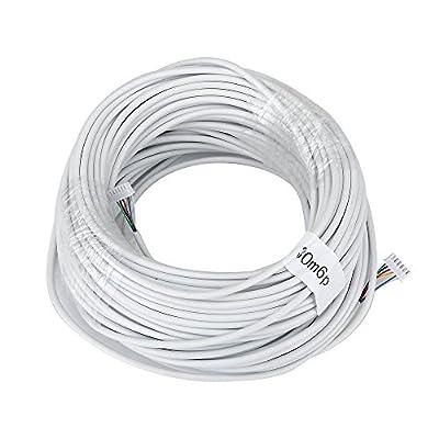 MOUNTAINONE 30M 2.546P 6 wire cable for video intercom Color Video Door Phone doorbell wired Intercom cable