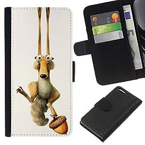 LECELL--Cuero de la tarjeta la carpeta del tirón Smartphone Slots Protección Holder For Apple Iphone 5C -- ICE DIVERTIDO DE LA HISTORIETA ARDILLA --