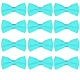 Boys Wedding Bow Tie 12 Pack Children Bowties Kids Tuxedo Solid Ties (Turquoise)