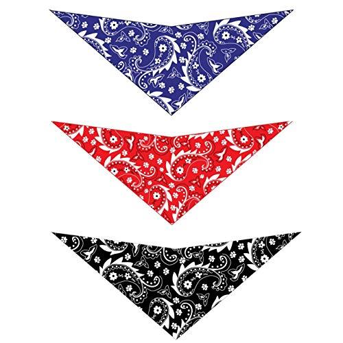 Elegant Pup Bandanas for Dogs | Paisley Design Pack of 3 Pet Hankerchiefs | Red, Blue, and Black (Medium 20