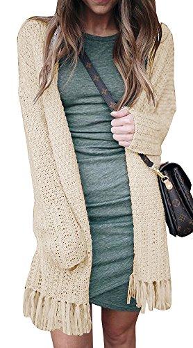 Imily Bela Women's Long Sleeve Tassel Hem Knited Sweater Chunky Cardigan Outwear