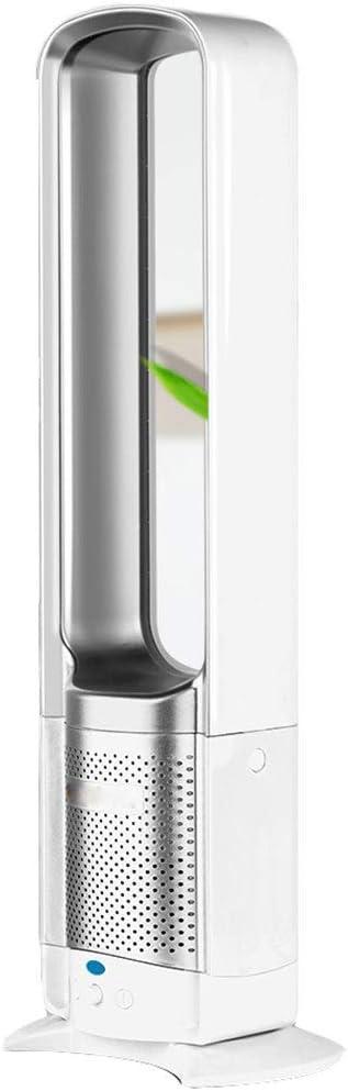 Ventilador eléctrico de enfriamiento sin aspas, ventilador de torre de purificación de aire de iones negativos con giro de giro de 90 °, 3 configuraciones de velocidad para el dormitorio,Plata,32inch