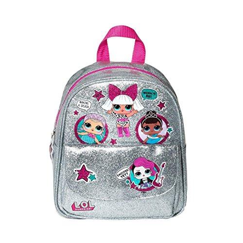 Girls Backpack Lol Surprise Doll Backpack Silver Glitter Size Medium ()