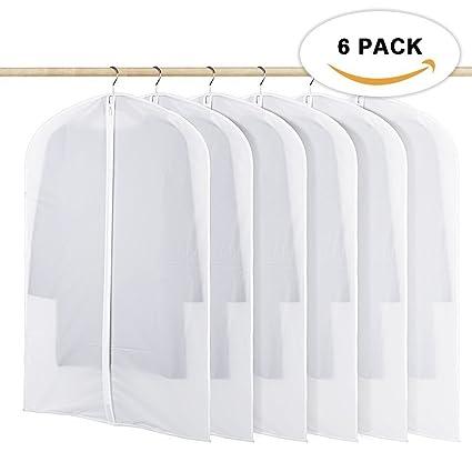 Amazon.com  HOMMINI Pack of 6 Hanging PEVA Garment Bags Lightweight ... b50dc481b7b92