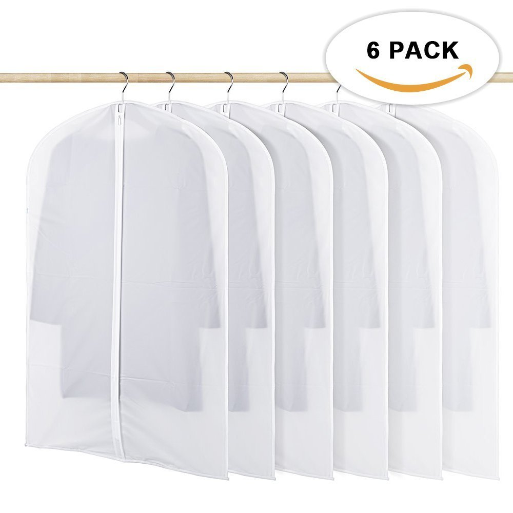 HOMMINI Pack of 6 Hanging PEVA Garment Bags Lightweight, Full Clear Zipper Suit Bag for Closet Storage or Travel Clothes Cover, Dust Cover(40'' x 24'') (M)