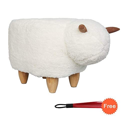 U-Eway Animal Ottoman Upholstered Ride-On Ottoman Footrest Stool,Changing Shoes,Animal Shape Toys,Home Decoration Children's Toys Gift Cartoon Cattle Animal Stool,Without Storage White Sheep