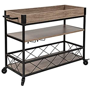 Taylor + Logan Distressed Light Oak Wood Kitchen Bar Cart with Stemware Rack and Panel Border Bottom Shelf