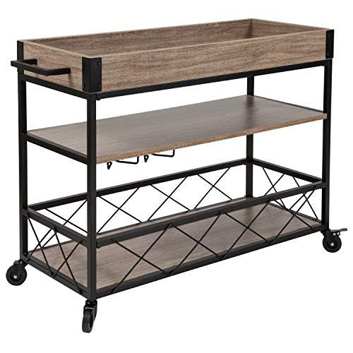 Taylor Logan Distressed Light Oak Wood Kitchen Bar Cart with Stemware Rack and Panel Border Bottom Shelf
