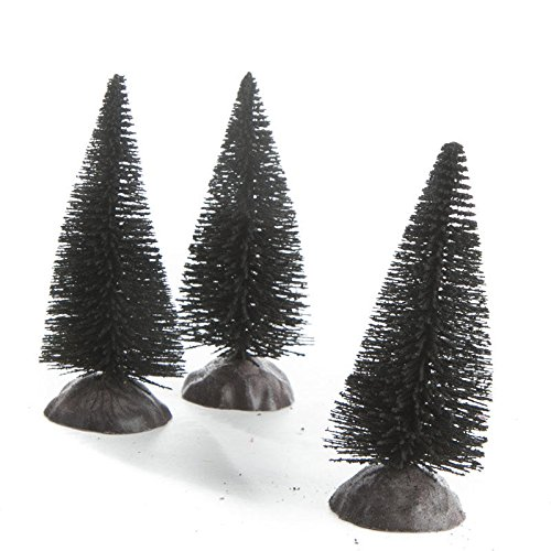 Factory Direct Craft® Package of 9 Miniature Black Flocked Bottle Brush Trees for Crafting Holiday Displays, and Miniature Work