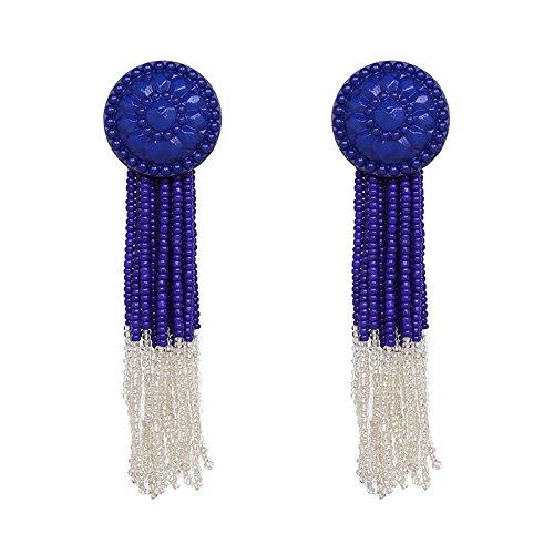 Purple Button Earrings - KissYan Bohemian Beaded Tassel Dangle Earrings Long Fringe Multi Color Drop Statement Earrings Handmade Jewelry For Women Girls(Button Tessel Purple)