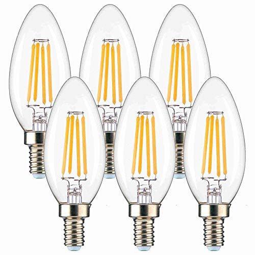 Fusheng E12 Led Bulbs 4W,B11 LED Chandelier Bulbs,C35 Candle Light Bulb,Led Candelabra Light Bulbs Replace 40W Traditional Bulb,2700K 400Lm Clear Glass UL Listed 6 Pack 360° Warm White