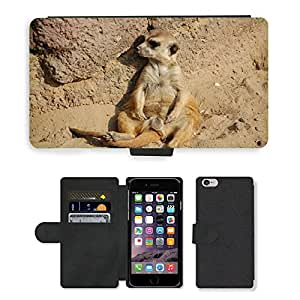 """Hot Style Cell Phone Card Slot PU Leather Wallet Case // M00115832 Meerkat Animals Africa Zoo Lazy // Apple iPhone 6 4.7"""""""