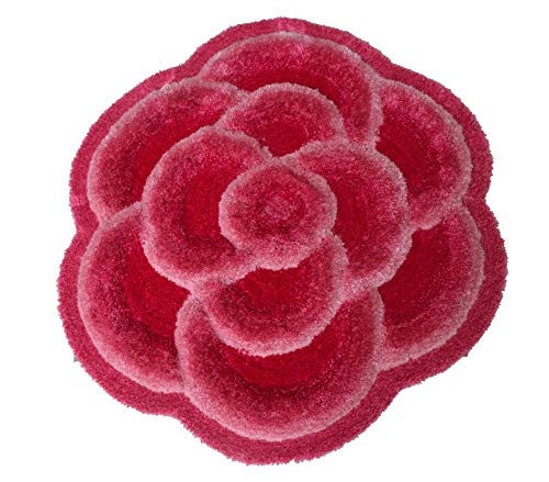 New 3D 3 Layer Look Flower Shape Soft and Smooth Shaggy Rug 100cmx100cm (704) (Pink)