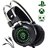 Gaming Headset with Stereo Surround Sound, USB Computer Headphones LED Lighting Noise Canceling Microphone Works with PC PS4 Xbox One