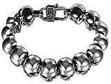 Stainless Steel Bracelet Bangle for Men Vintage Bracelets 21.5CM Length Punk Skull Heads Chain