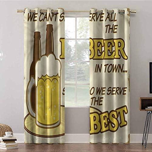Aishare Store – Tende oscuranti per finestra, 243,8 cm, stile vintage anni '50, bottiglia di vetro di birra, tende e tendaggi per soggiorno (2 pannelli)