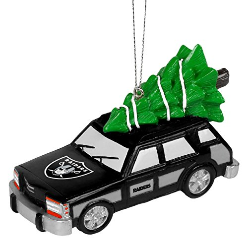 NFL Station Wagon With Christmas Tree Ornament-Oakland Raiders