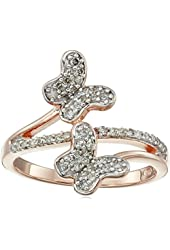 18k Rose Gold over Sterling Silver Diamond Butterfly Bypass Ring (1/3cttw, I-J Color, I2-I3 Clarity), Size 7