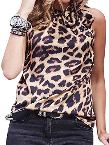 Blouse Print Animal Pleated - Women Snake Print Sleeveless Pleated Halter Neck Tunic Shirts Cami Tank Tops Night Party Club L