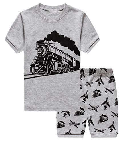 2 Piece Short Sleeve Pajamas - GSVIBK Boy Pajamas Kids Cotton 2 Piece Sleepwear Short Sleeve Pajama Set Toddler Pajamas Truck Dinosaur 4-5Years M 091