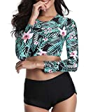 Century Star Two Piece Swimsuit Long Sleeve Lace Up Back Swimwear Crop Top Tankini Bathing Suit For Women Floral Print (Leaf) Large (fits like US 8-10)