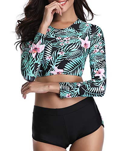 (Century Star Two Piece Swimsuit Long Sleeve Lace Up Back Swimwear Crop Top Tankini Bathing Suit for Women Floral Print (Leaf) Medium (fits Like US 6-8))