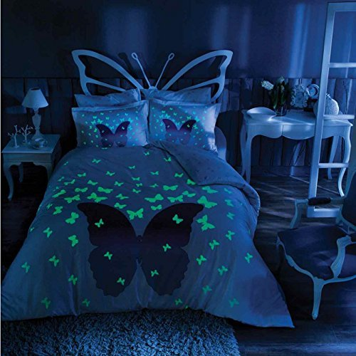 TAC Butterfly Glow In the Dark Duvet Cover Set, 100% Cotton, Full / Double Size Size, 4 Pieces
