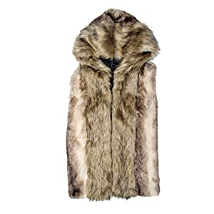 Idopy Men`s Luxury Faux Fur Sleeveless Jacket Vest With Hood Asian 3XL US L Grey