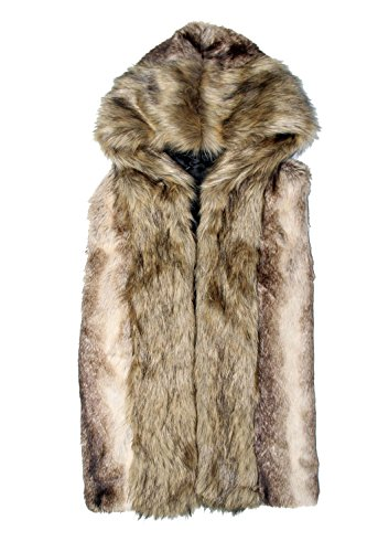 Idopy Men`s Luxury Faux Fur Sleeveless Jacket Vest with Hood Asian 3XL US L - Jacket Fur Coat Vest