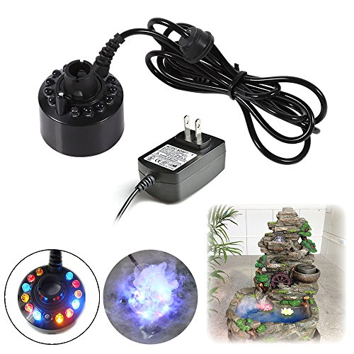 Novelty Mini Mist Maker Atomizer DIY Fogger Water Foutain Air Humidifier Decoration Kit With Multi-Color LED for Minigarden, Pond, Aquarium Landscaping, Project Fishtank etc. -