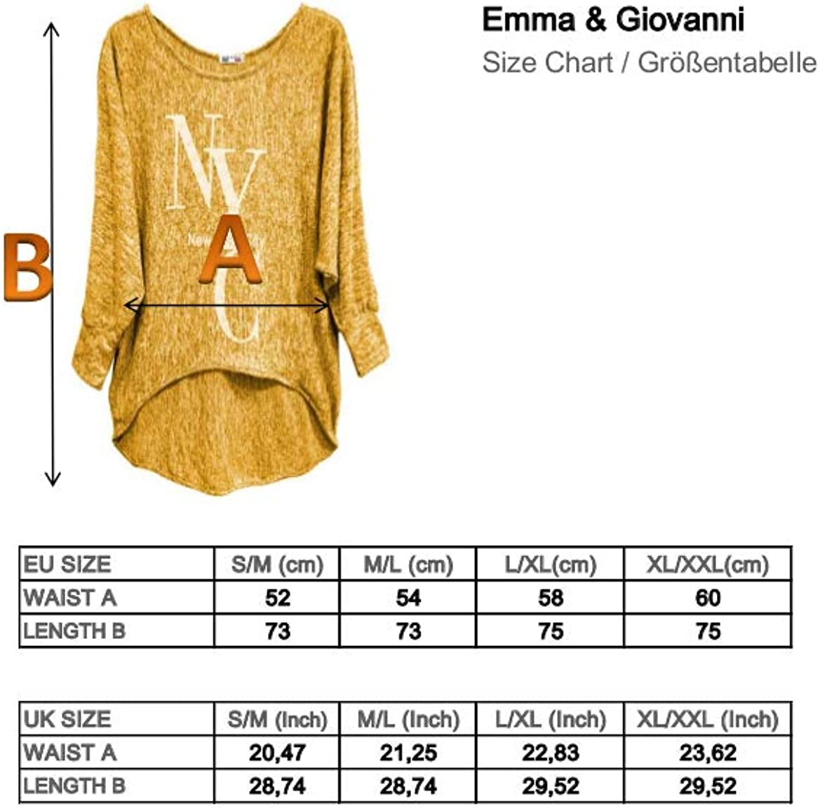 Made in Italy Maglie a Manica Lunga Emma /& Giovanni - Donna