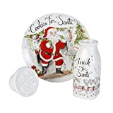 Fitz and Floyd Vintage Holiday Collection Milk and Cookies for Santa with Cookie Press (Set of 3), White