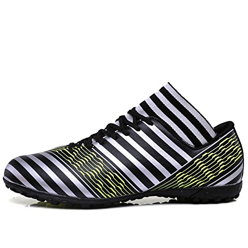 MOOKEY Football Shoes Men's Sport Soccer Shoes Training Leather New Young Low-Top Football Shoes Black 0miSYjZxE