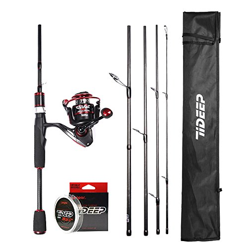 LONPAR Spinning Rod and Reel Combos 24T+30T High Grade Carbon Fiber Blank Rod with 8+3BB Lightweight Smooth Reel Free Nylon Line Saltwater Freshwater Fishing Rod Kit