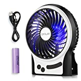 OPOLAR F201 Rechargeable Portable Mini USB fan with Upgrade 2200mAh Battery,with Internal and Side Light, 3 Speeds, Personal Cooling for Traveling,Boating,Baby Stroller,Fishing,Camping
