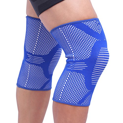 Ultra Flex Knee Braces/Sleeves(1 pair) Support for Running, Athletics, Jogging, Joint Pain Relief, Arthritis and Injury Recovery, Patella Protection Weightlifting Gym Both Men & Women M-Blue ()