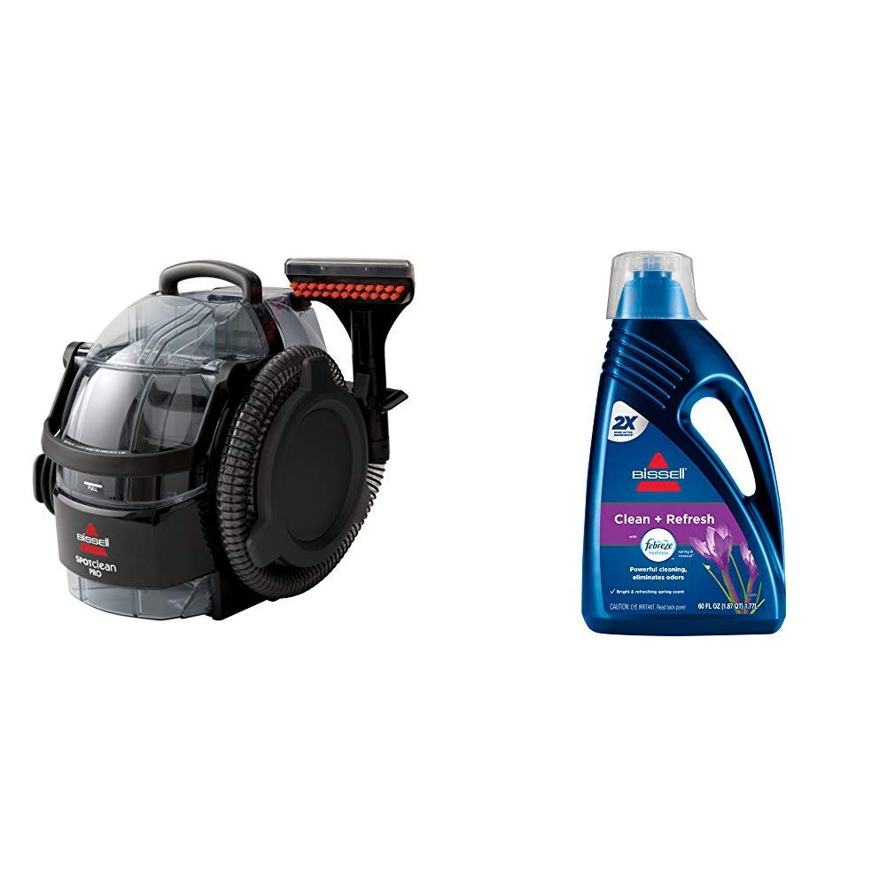 Bissell 3624 SpotClean Professional Portable Carpet Cleaner - Corded & DeepClean + Refresh with Febreze Freshness Spring & Renewal Formula, 1052A, 60 ounces