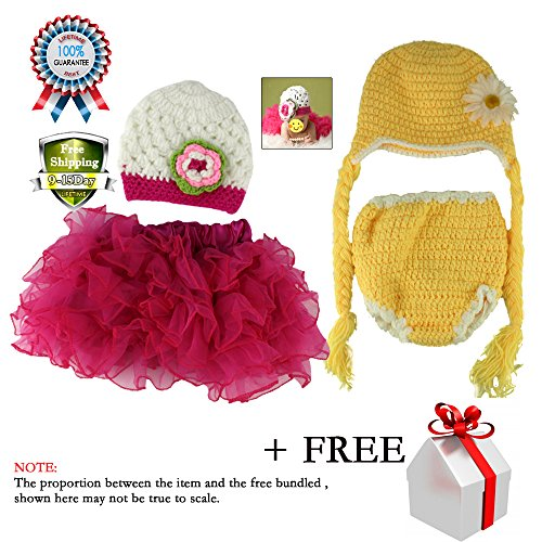 [Baby Girl Princess Knit Crochet Hat and Skirt Photo Prop Outfits Consumer Photography Set 2-12] (Halloween Costumes Ideas For Newborns)