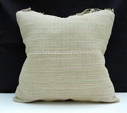 Hmong tribal 21 inch square cushion neutral unbleached beige natural organic KK69 Tribal ethnic solid pillow handwoven hemp